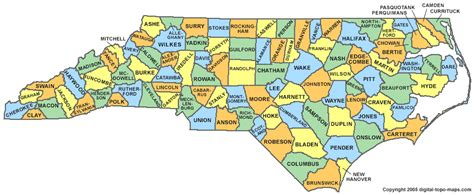 nc map carolina county map nc counties map of