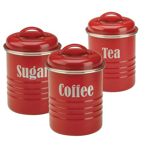Green Kitchen Canister Set Typhoon Vintage Tea Coffee Sugar Storage Set Red Storage