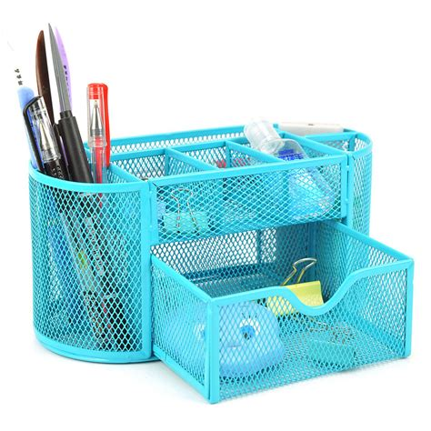 Pencil Desk Organizer Desk Organizer 9 Compartments Metal Black Mesh Desktop Office Pen Pencil Holder Ebay