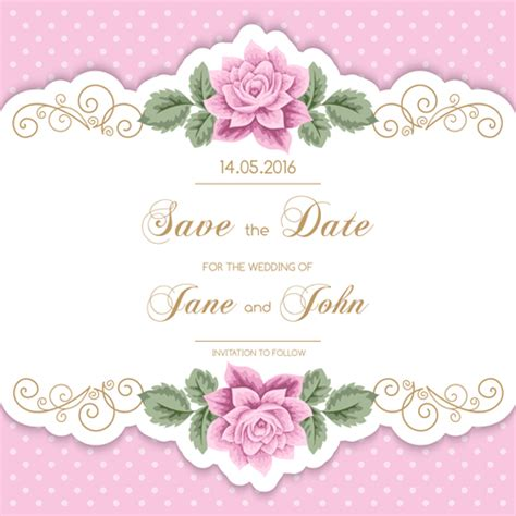 Wedding Card Eps by Wedding Invitetion Card With Pink Flower Vector Vector