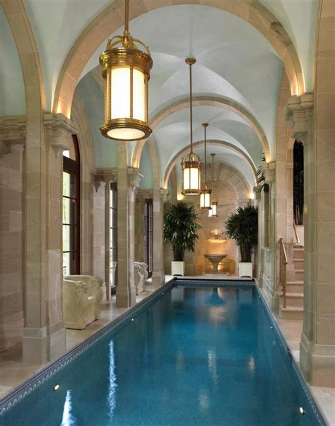 classic style indoor pool interiors by color