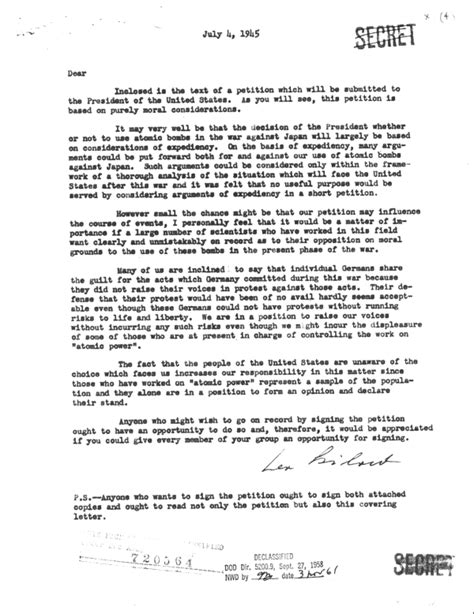 Petition Cover Letter Atomic Bomb Decision Petition Cover Letter July 4 1945