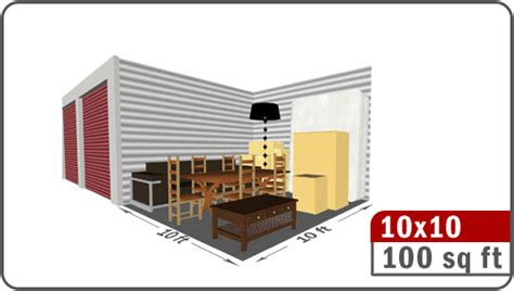 how many square in a 10x10 room midland self storage unit selector page