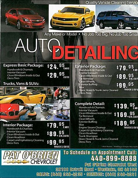 pat o brien chevrolet west auto detailing service in cleveland area pat o brien