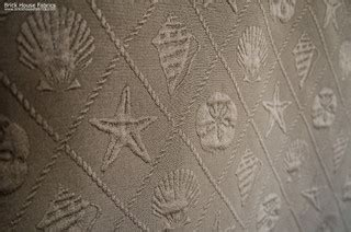 upholstery fabric maine seashell fabric ocean trellis starfish sand dollar brown