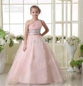 Age 10 pink one shoulder ball gown girl kid pageant formal dance