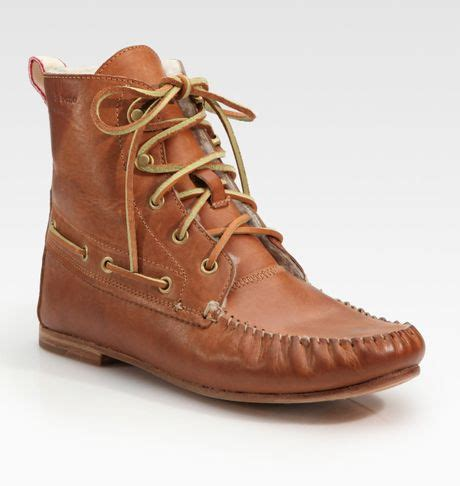 moccasin ankle boots rag bone moccasin ankle boots in brown walnut lyst