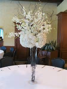 table decorations with high black vase for wedding