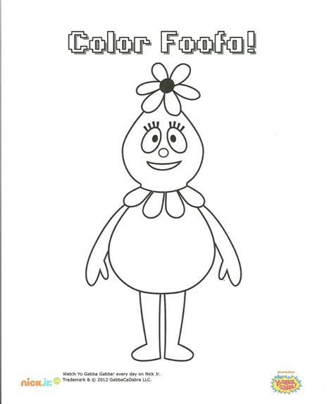 nick jr yo gabba gabba coloring pages foofa coloring page ygg party pinterest coloring