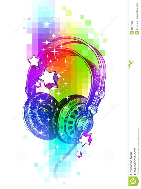 hand drawn headphones   colorful background royalty