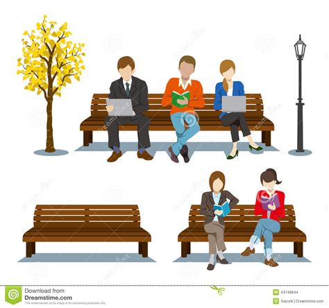 on the bench sitting on the bench various people stock vector image 44748844