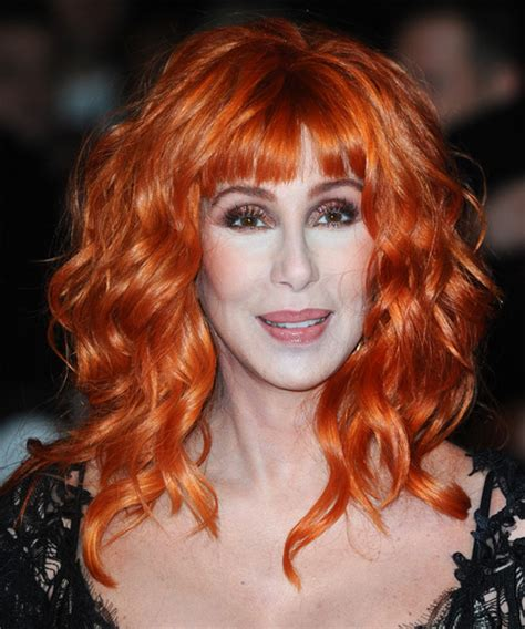 Cher Hairstyles by Cher Wavy Alternative Hairstyle With Blunt Cut Bangs