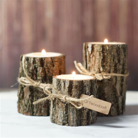 Rustic Candle Holders by Twine Log Candle Holder Set Of 3 Rustic Centerpieces