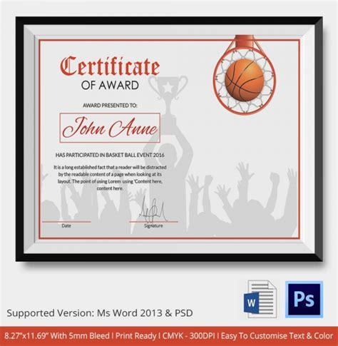 free printable youth basketball certificates