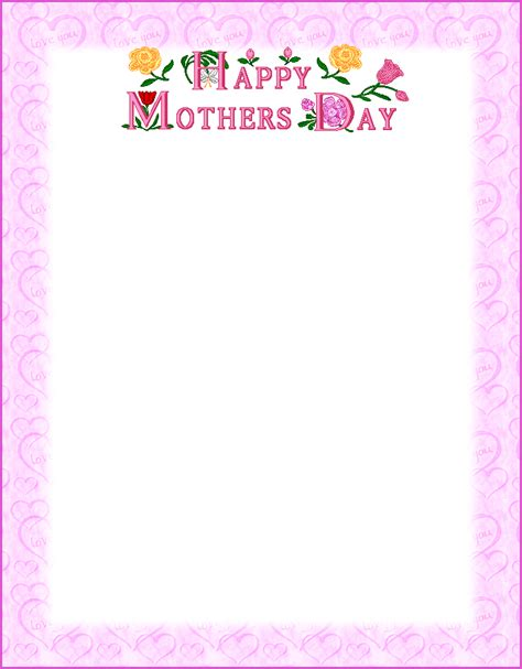 printable lined paper for mother s day free printable happy mother s day poems that kids can