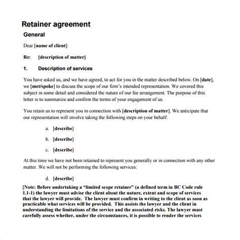 retainer agreement template retainer agreement 9 free documents in pdf
