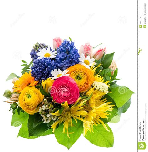 colorful spring flowers bouquet bouquet of colorful spring flowers isolated stock photo