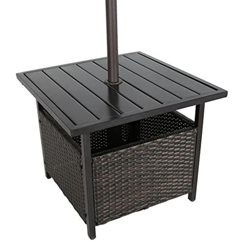 bistro table with umbrella iwicker patio pe wicker umbrella side table stand outdoor