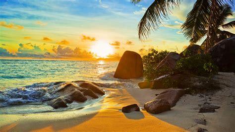 tropical beach  sunset wallpaper hd  wallpaperscom