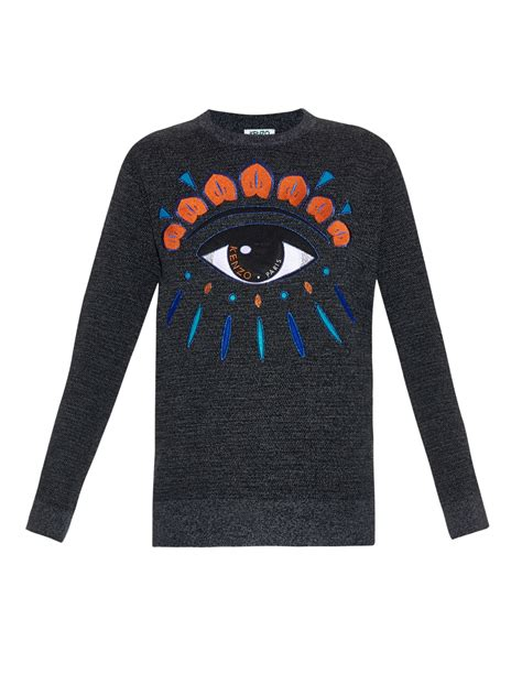 lyst kenzo icons eye embroidered knit sweater in gray