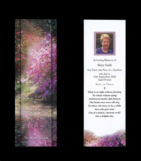 Memoriam Memorial Cards Funeral Cards Rememberance Cards Rememberance Bookmarks Acknowledgement In Loving Memory Bookmark Template Free