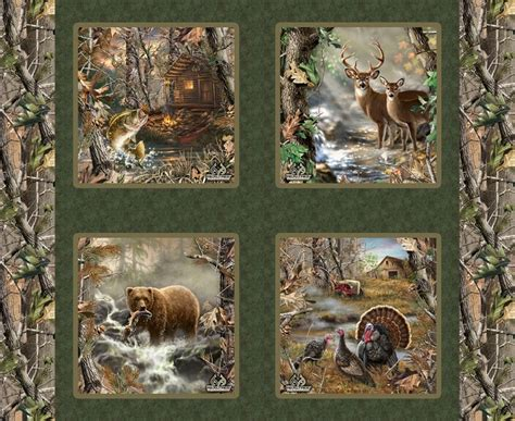 Wildlife Fabric For Quilting by Ford Real Tree Pillow Panel Fabric J D Board