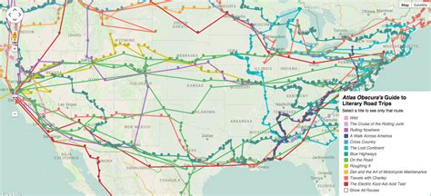 map us road trip american literature s most iconic road trips on a map