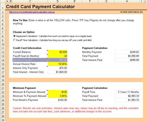 credit card payment calculator excel spreadsheet