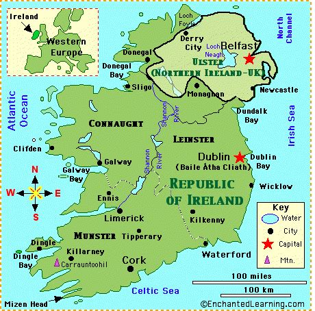 printable map ireland counties towns simple map of ireland of ireland map quiz printout map