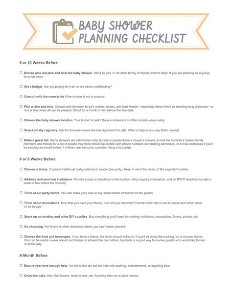 baby shower checklist template template for bowtie for a baby shower baby shower