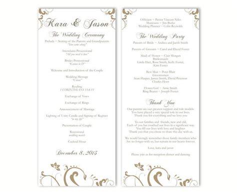 wedding program template diy editable text word file