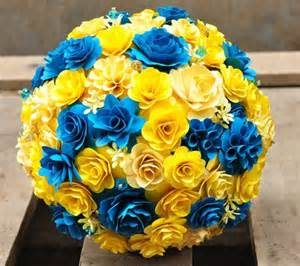 Corn Husk Flowers Yellow And Bondi Blue Bouquet Made Of Wooden Flowers