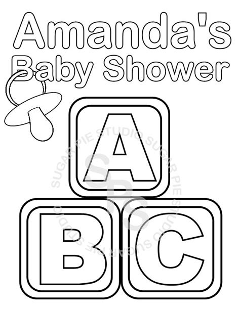 Page Shower by Personalized Printable Baby Shower Favor Childrens