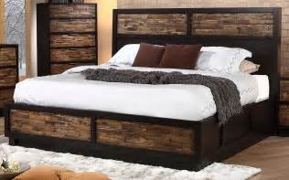 King Platform Bed Set - makeeda rustic king platform storage bed b3105 110 128