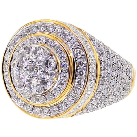 mens diamond cluster  pinky ring  yellow gold  ct