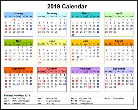 2019 Printable Calendar Latest Calendar