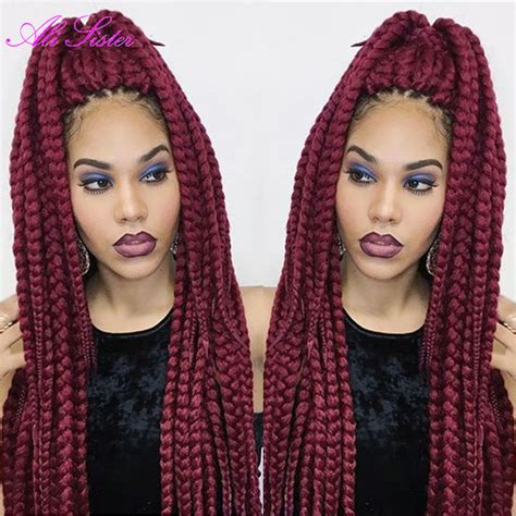 burgundy senegalese twists burgundy braiding hair box braid extensions synthetic