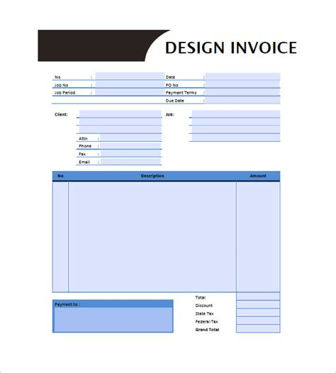 graphic design invoice template pdf graphic design invoice templates 8 free word excel