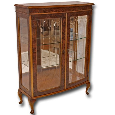 Front Door Cabinet Reproduction Two Door Bow Front Display Cabinet In Yew And Mahogany