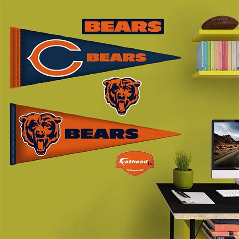 chicago bears wall stickers chicago bears pennants fathead jr wall decal shop