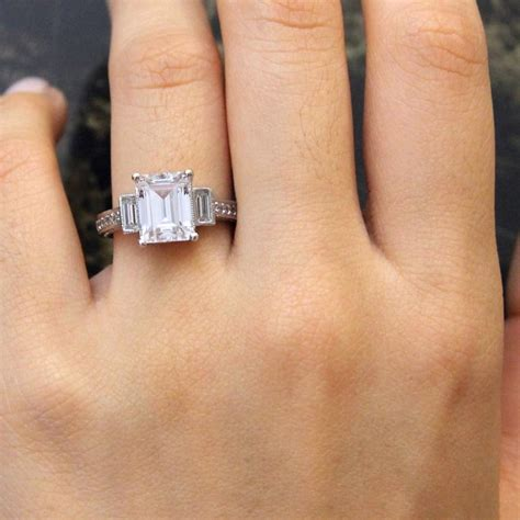 3 45 ct tw deco ring engagement ring emerald cut