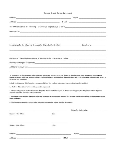 Agreement Letter Exle Simple Contract Template 6 Free Templates In Pdf Word Excel