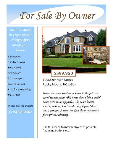 templates for house for sale by owner flyers for sale by owner free flyer template by hloom com