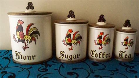 rooster kitchen canisters metlox poppytrail red rooster canister set flour sugar coffee