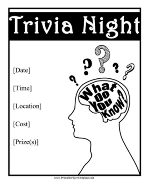free trivia flyer template trivia flyer