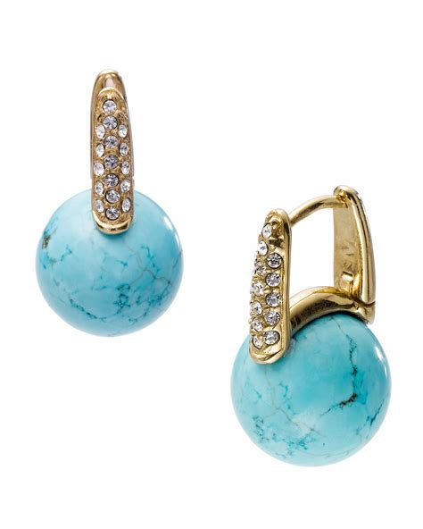 michael kors turquoise drop pave huggie earring in