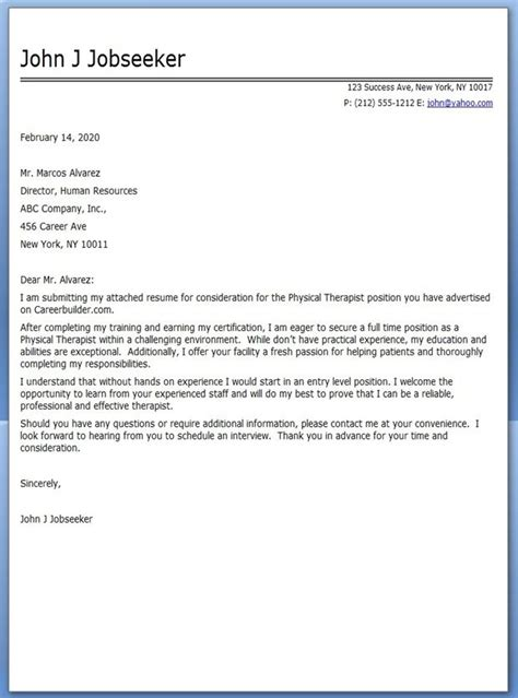 cover letter for physical therapy aide sle cover letter cover letter exles therapist