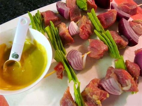 Mustard Glazed Pork Skewers by Mustard Glazed Pork Skewers With Grilled Sweet Potatoes