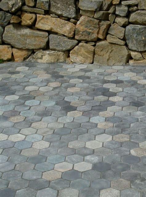hexagon recycled granite paver patio 100