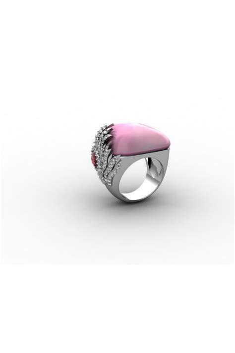 18k pink quartz white gold ring